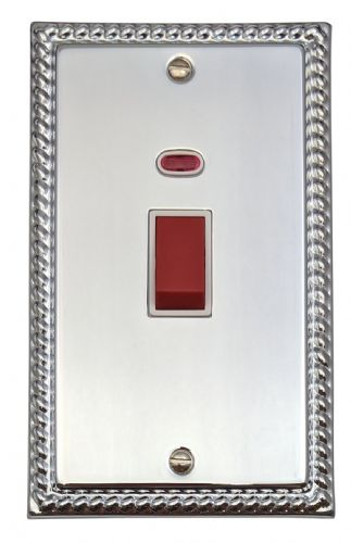 G&H MC28W Monarch Roped Polished Chrome 45 Amp DP Cooker Switch & Neon Vertical Plate